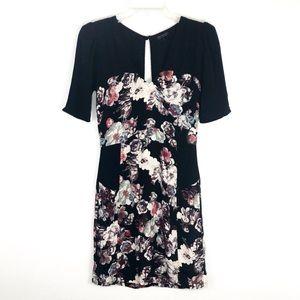 Topshop Black Floral V Neck Dress 4